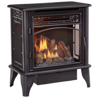 ProCom Gas Stove 3-Sided Black Dual Fuel with Remote Control - 23,000 BTU, Vent-Free, PCNSD25RTA