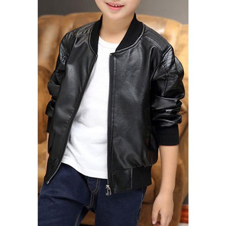 Kids Boys Small Collar Warm Leather Jacket