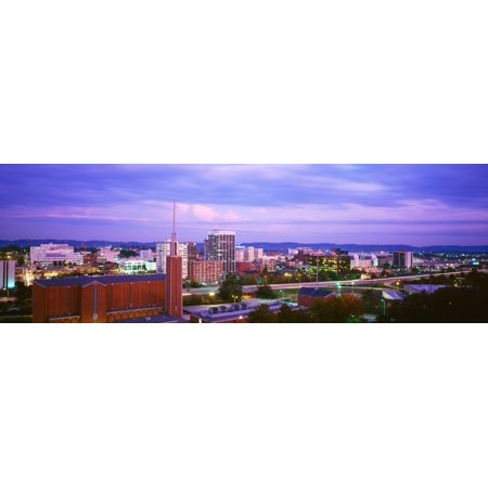 High angle view of a city at dusk Chattanooga Tennessee USA Canvas Art - Panoramic Images (27 x 9)