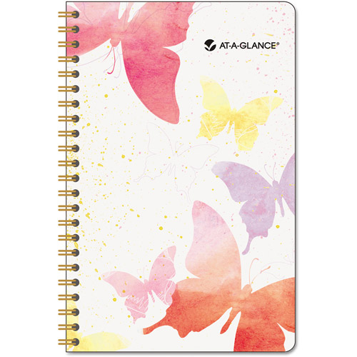 Day Runner Wirebound Watercolor Weekly Planner - Julian - Weekly, Monthly - July 2016 till June 2017 - 1 Week Double Pag