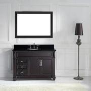 """Virtu USA Victoria 48-inch Single Bathroom Vanity Cabinet Set Victoria 48"""" Square Black Galaxy Top in Espresso"""