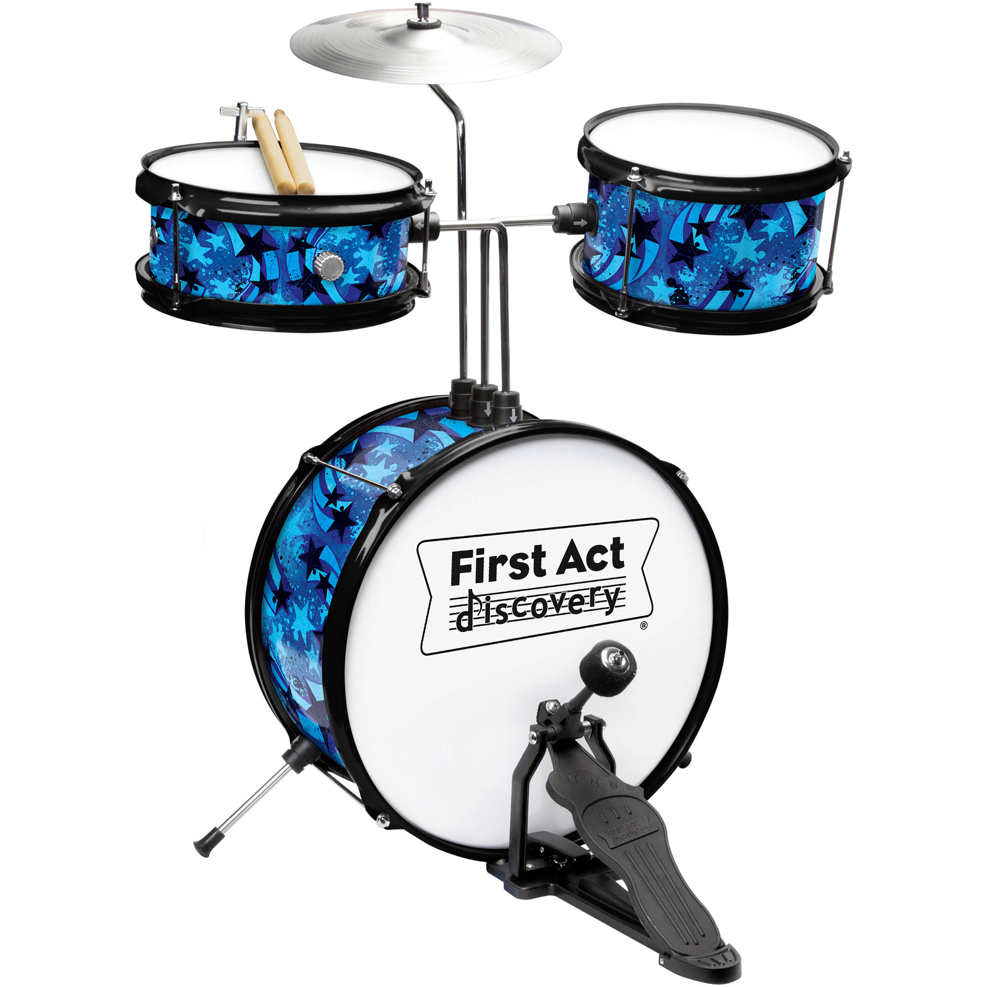 First Act Discovery Blue Swirls Stars Designer Drum Set FD5057, Blue by FIRST ACT INC.