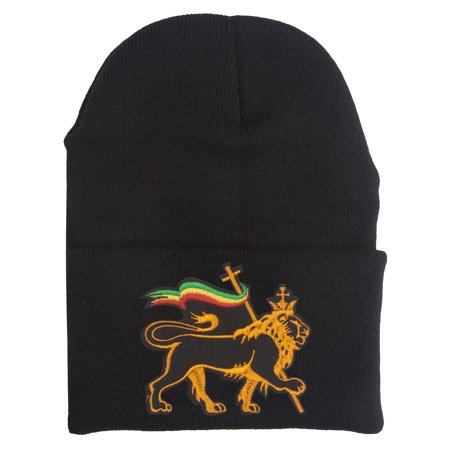 Rasta Lion of Judah Cuffed Beanie - Rasta Hat With Dreads