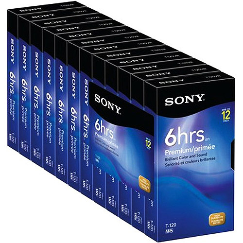 Sony 12T120VR 120 Minute Premium VHS Cassette Tapes (12-Pack)