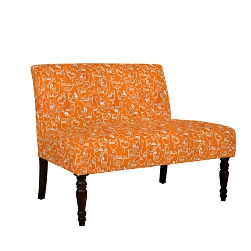 ... Angelo:HOME Bradstreet Bird Flock Vintage Orange And Cream Armless  Settee
