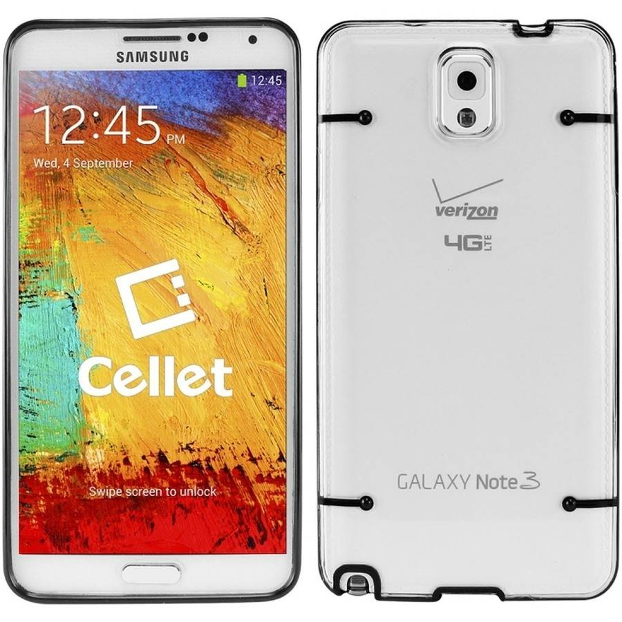 Cellet Black/Clear Slim Fit Hard Cover Case for Samsung Galaxy Note 3