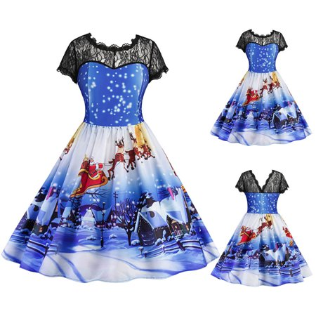 Mosunx Women Christmas Print Lace Up Swing Party Vintage Ball Gown Party Dresses - Easy Christmas Characters To Dress Up As