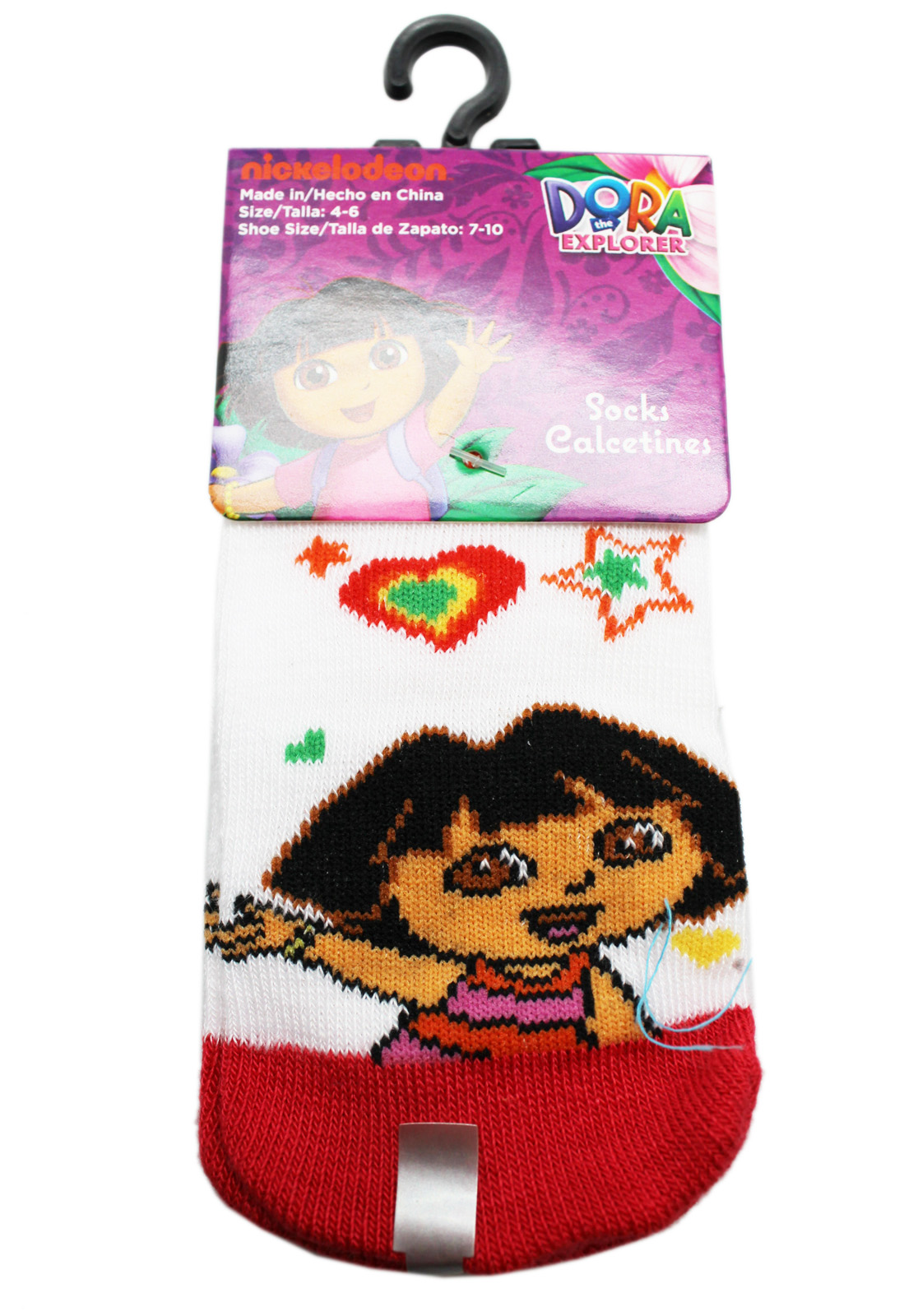 2 Pairs, Size 6-8 Dora the Explorer Light Blue Floral Stylized Kids Socks