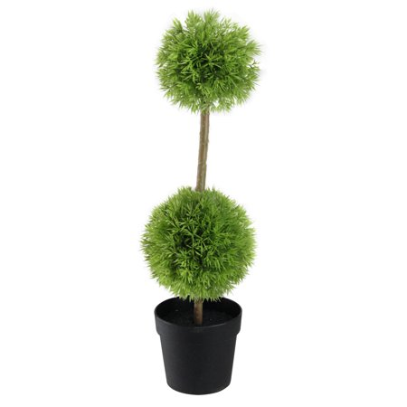 1.33' Potted Two-Tone Grass Ball Topiary Artificial Grass Double Ball Topiary Christmas Tree - Unlit
