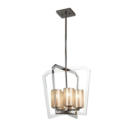 Flat Rim Chandelier - Justice Design  Group Fusion Aria 4-light Polished Chrome Chandelier, Mercury Cylinder - Flat Rim Shade