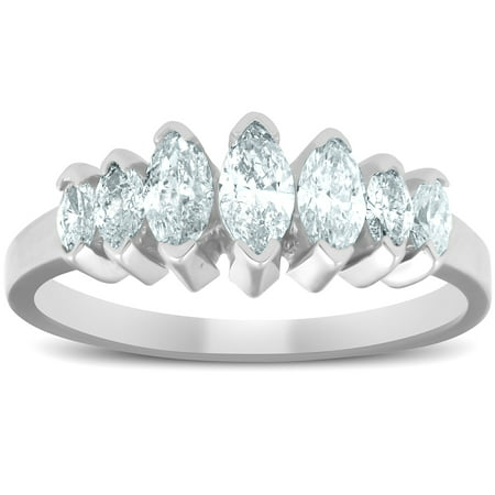 14K White Gold 3/4ct Marquise Diamond Anniversary Ring