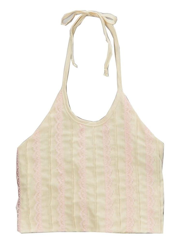 Girls Ivory Pink Scalloped Trim Halter Strap Sleeveless Shirt 7-10