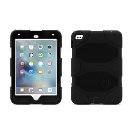 Griffin iPad mini 4 Case with Stand, Black Survivor All-Terrain, [Rugged] [Protective] [Dual Layer] [Heavy Duty] [Shock Absorption] [Polycarbonate]