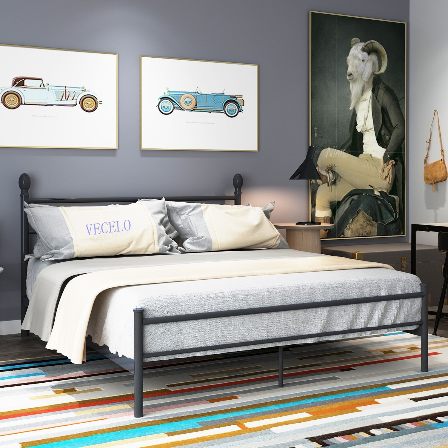 New Platform Bed Frame,Queen/Full Size Metal Beds Box Spring Replacement with Headboard