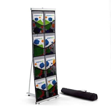 Mesh Floor Catalog Rack - Roll Out Brochure Holder 8 Pockets - Portable Literature Display