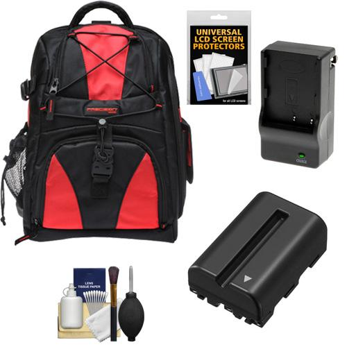 Precision Design Multi-Use Laptop/Tablet Digital SLR Camera Backpack Case (Black/Red) with NP-FM500H Battery & Charger + Accessory Kit for Sony Alpha SLT-A57, A65, A77, A99