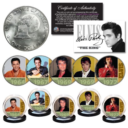 1960 Coins (ELVIS PRESLEY 1960's-70's Music Hits 1976 Bicentennial IKE Dollar 5-Coin Set)