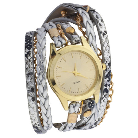 - Lux Accessories GoldTone Metal Metallic Leather Chain Braided Wrap Watch