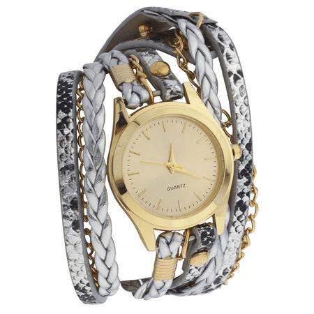 Multi Chain Wrap Watch - Lux Accessories GoldTone Metal Metallic Leather Chain Braided Wrap Watch
