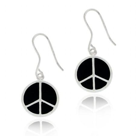 Sterling Silver Black Enamel Peace Sign Dangle Earrings