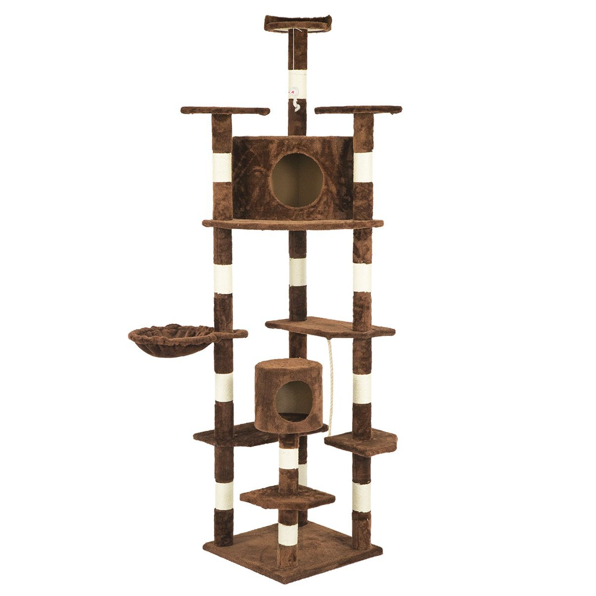 """Brown 73"""" Cat Tree Scratcher Play House Condo Furniture Bed Post Pet House"""
