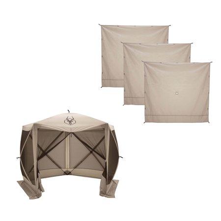 Gazelle G5 4 Person 5 Sided 115 x 106 Portable Canopy Gazebo Tent + Wind Panels