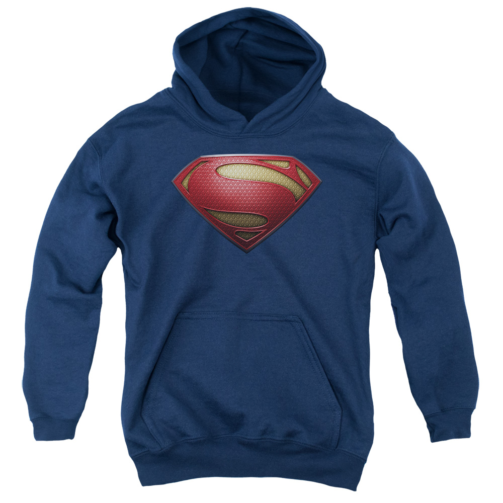 Man of Steel Superman Mos Shield Big Boys Pullover Hoodie
