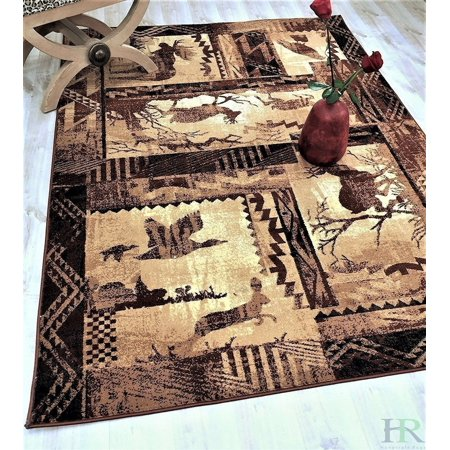 Lodge, Cabin Nature and Animals Area Rug - Nature Pattern Cabin Area Rug - Abstract, Chocolate Brown/Beige-Rabbit/Deer/Moose/Birds ()