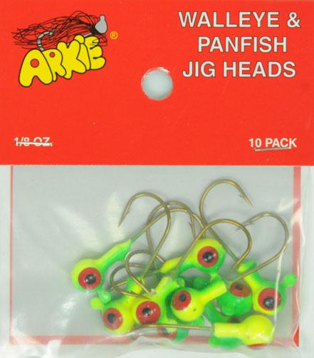 Arkie Ball Jig Heads Red Hook 1//8 Oz. 10 Count