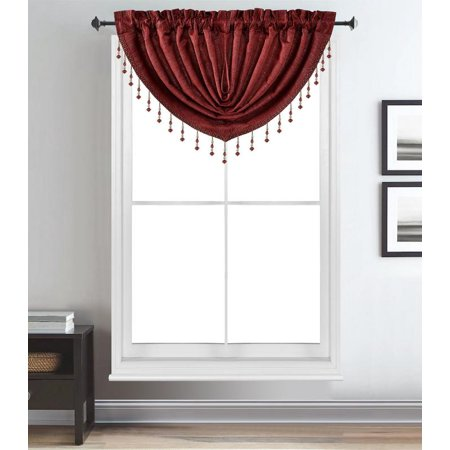Melanie Jacquard Rod Pocket Window Treatment Luxury Waterfall Valance Curtain Drape (48