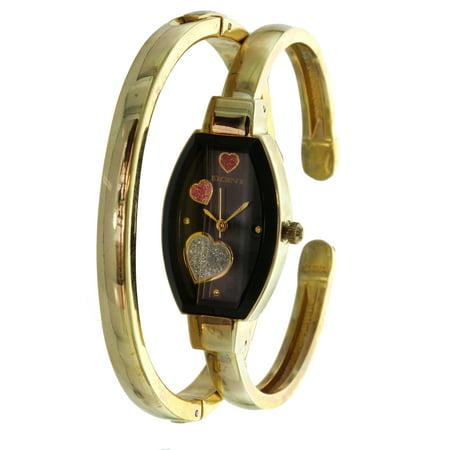 Dial Bangle Bracelet Watch - Womens Bangle Watch and Bracelet Set Raining Heart Dial ELS32