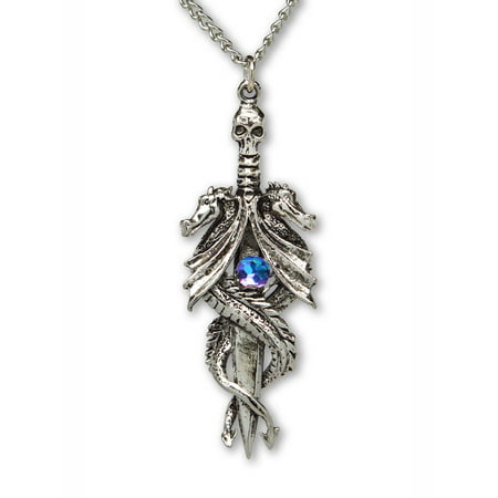 Double Dragon Sword with Blue Crystal Pendant Necklace by Real Metal Jewelry Double Sided Pendant Necklace