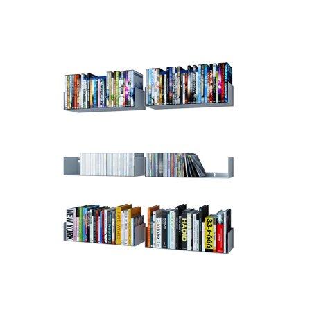 Wall Mountable U-Shaped Modern Metal Durable Bookcases Floating Shelves Set of 6 White ()