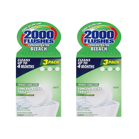(2 pack) 2000 Flushes Concentrated Bleach Automatic Toilet Bowl Cleaner - 3 PK, 3.0