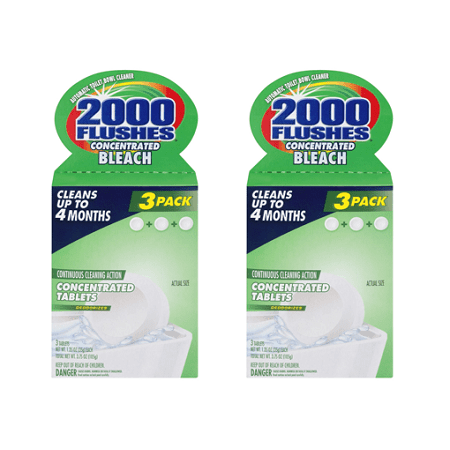 (2 pack) 2000 Flushes Concentrated Bleach Automatic Toilet Bowl Cleaner - 3 PK, 3.0 PACK
