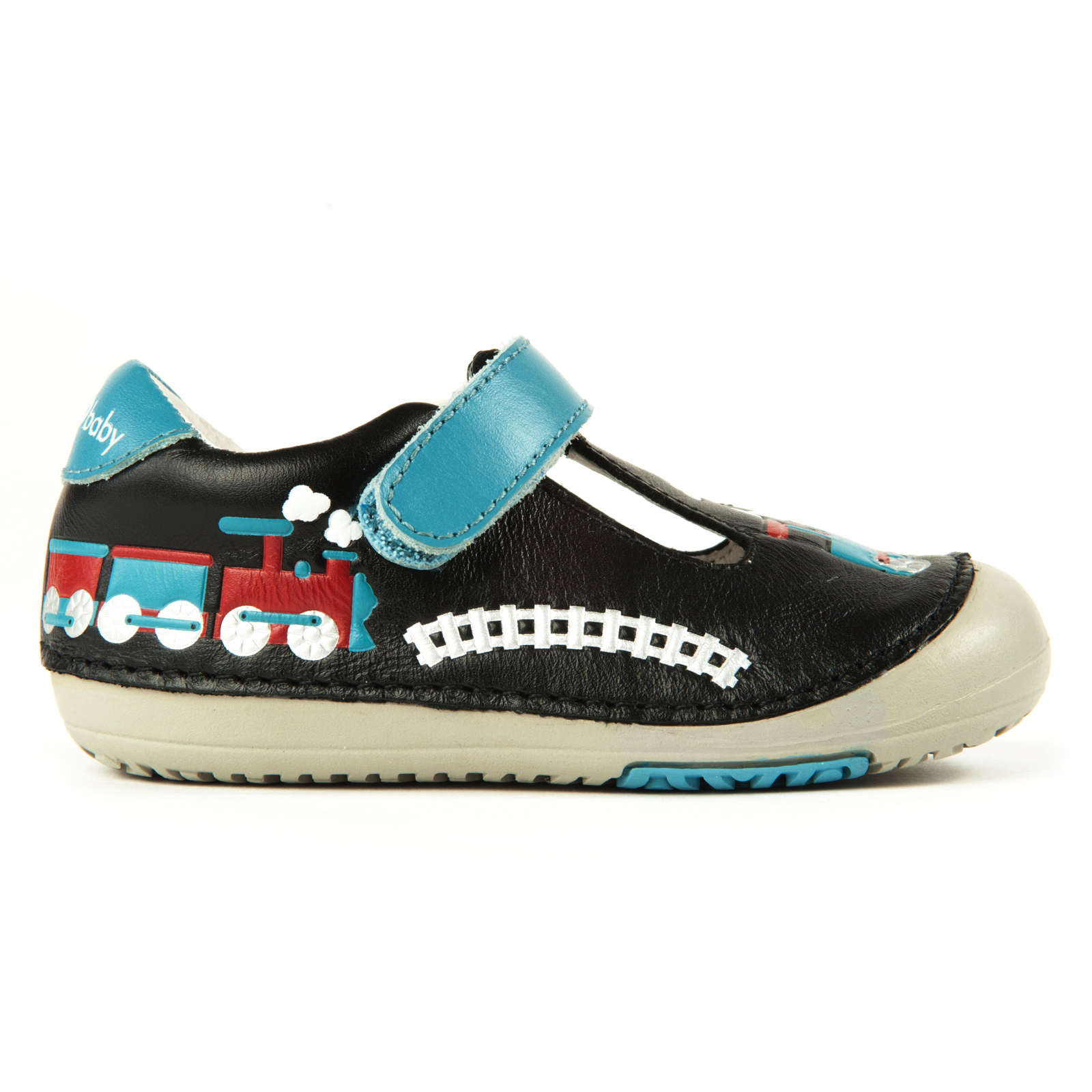 Size 4 /& 4.5 Momo Baby Boys First Walker//Toddler Train T-Strap Leather Shoes