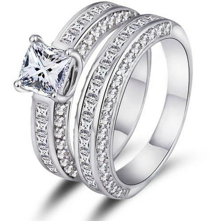 Princess Cut Double Band Engagement Ring