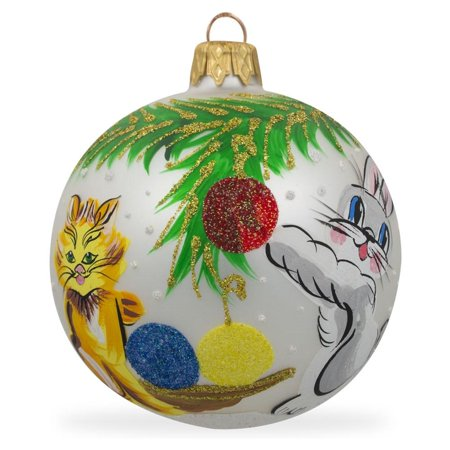 Bunny and Cat Hanging Ornaments Glass Ball Christmas Ornament 3.25 Inches - Hanging Glass Balls