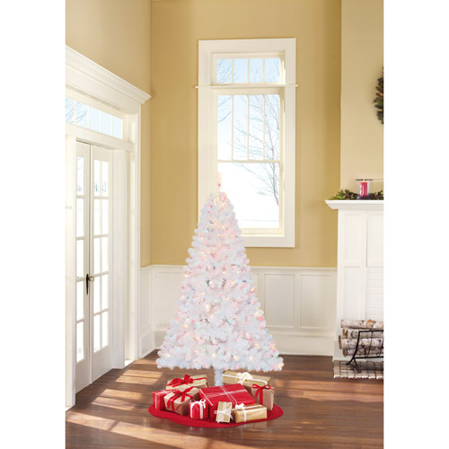 Holiday Time Pre-Lit 6.5' Madison Pine Artificial Christmas Tree, White, Multi-Color Lights