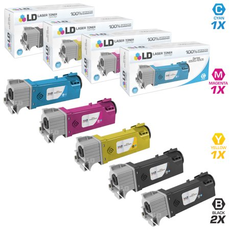 LD Compatible Xerox Phaser 6500 Set of 5 High Yield Cartridges: 2 106R01597 Black, 1 106R01594 Cyan, 1 106R01595 Magenta and 1 106R01596 Yellow for 6500, 6500/DN, 6500N, WorkCentre 6505