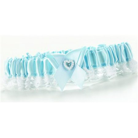 Blue Double Heart Garter Narrow Lace