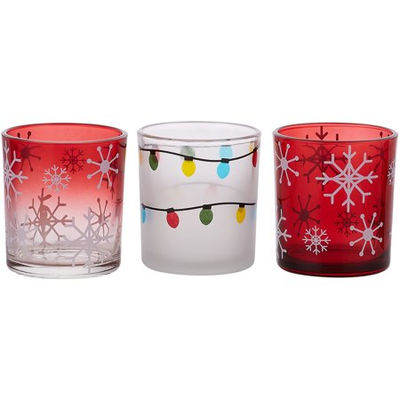 Pavilion - Snowflake And Christmas Light Patterned Red Glass Set of 3 Patterned Tealight Candle Holders Christmas Tree Tealight Candle Holder