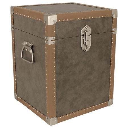 Seward Trunk Houston Collection Trunk Cube End Table, Grey