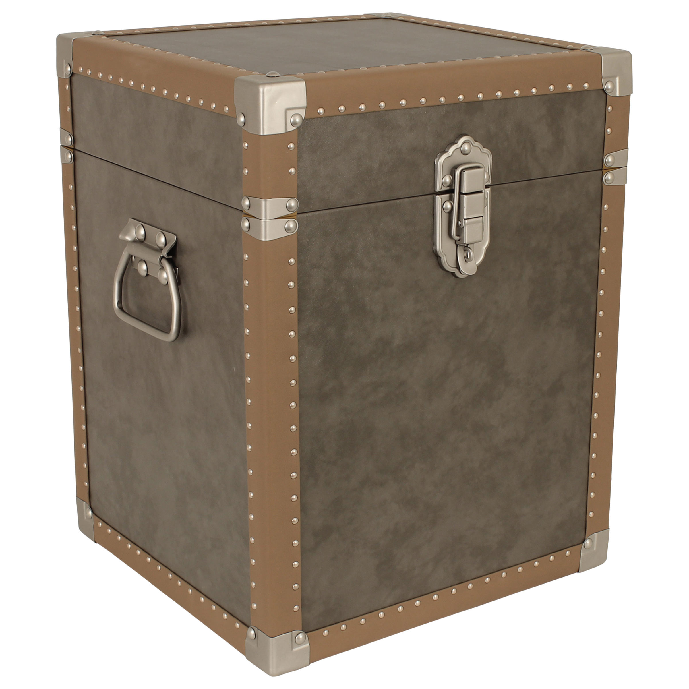 Houston Collection Trunk Cube End Table, Grey