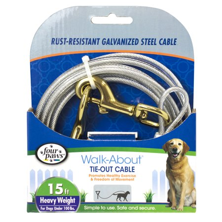 Four Paws Tie-Out Cable for Large Dogs Silver 15 Feet