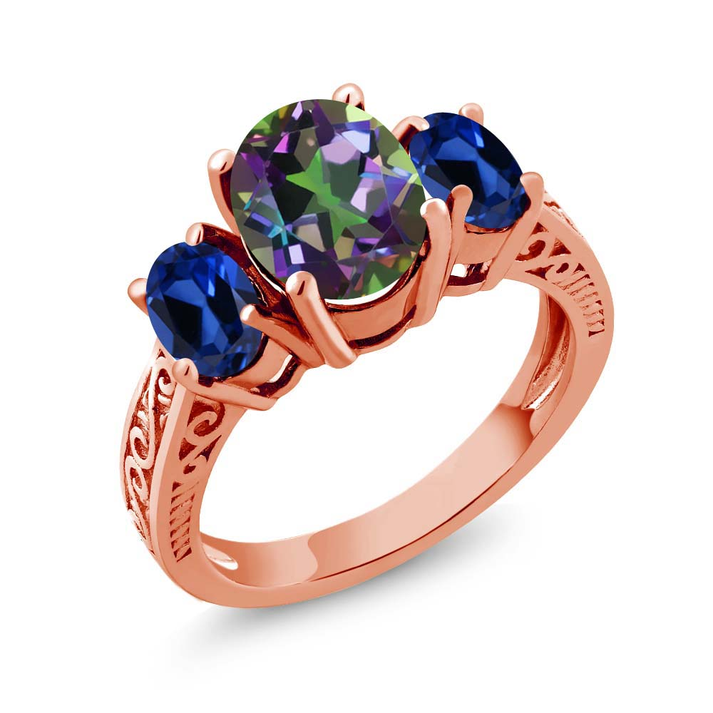 3.66 Ct Green Mystic Topaz Blue Simulated Sapphire 925 Rose Gold Plated Silver 3-Stone Ring