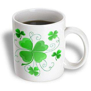 3dRose This design is of some lucky Shamrocks just in time for St Patricks Day, Ceramic Mug, - Lucky Shamrock