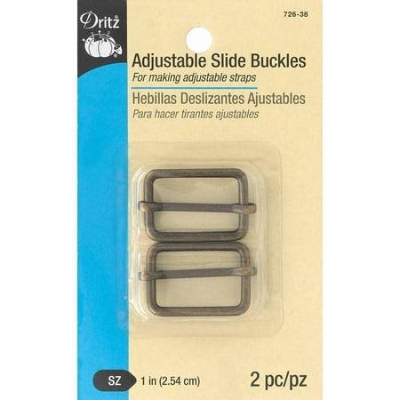 "Dritz Adjustable Slide Buckle, 1"", 2pk, Antique Brass"