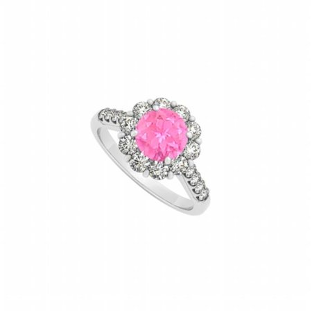 Fine Jewelry Vault UBUNR50584AGCZPS Pretty Pink Sapphire & CZ Ring in 925 Sterling Silver, 10 Stones