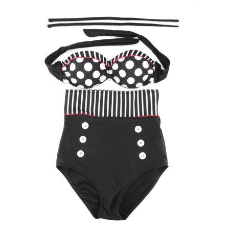 Vintage Sexy High Waist Swimsuit Swimwear Bathing Push Up Bikini Set Polka Dot